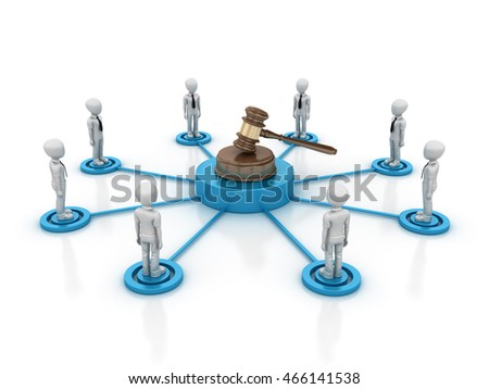 Teamwork Characters with Gavel - Teamwork Concept  - High Quality 3D Rendering / Illustration