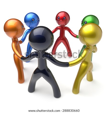 Teamwork circle people social network human resources individuality characters friendship team six different cartoon friends unity meeting icon concept colorful. 3d render isolated - stock photo