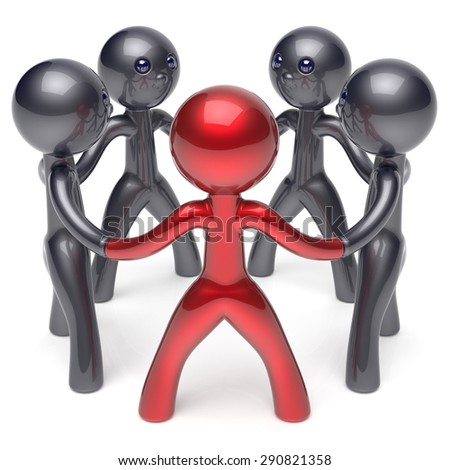 Teamwork circle people social network human resources individuality leadership character friendship team five cartoon friends unity meeting icon concept red black. 3d render isolated - stock photo