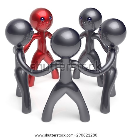 Teamwork circle people social network individuality character human resources friendship team five cartoon friends unity meeting icon concept red black. 3d render isolated - stock photo