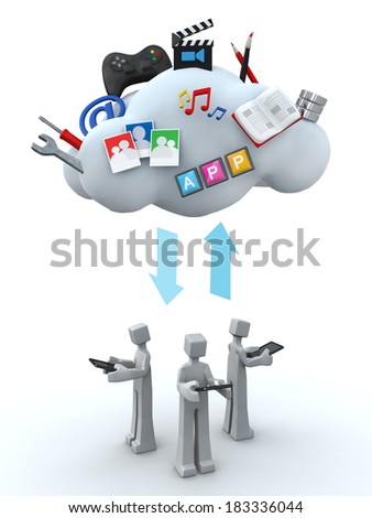 Teamwork cloud server and sharing concept 3d illustration - stock photo