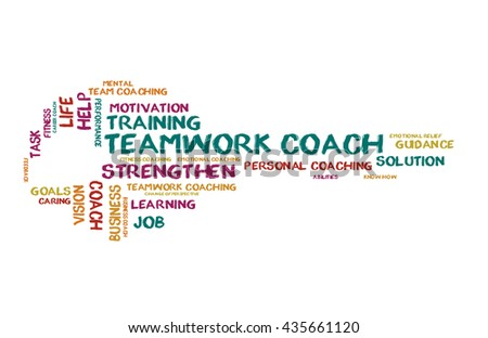 Teamwork coach word cloud shaped as a key - stock photo