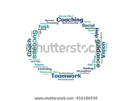 Teamwork Coaching word cloud shaped as a circle - stock photo