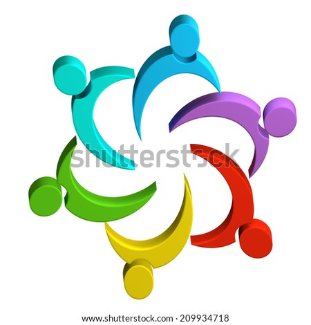 Teamwork colorful people working together .Solidarity ,community and collaboration symbol 3d image - stock photo