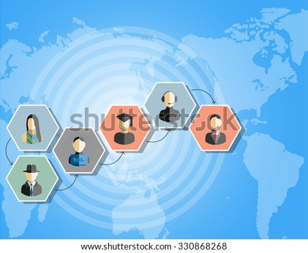 TEAMWORK COMMUNICATION CONCEPT ART PEOPLE FLAT STYLE WORLD IDEAS TIMELINE - stock photo