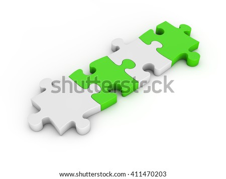 Teamwork concept based on jigsaw puzzle. 3d illustration