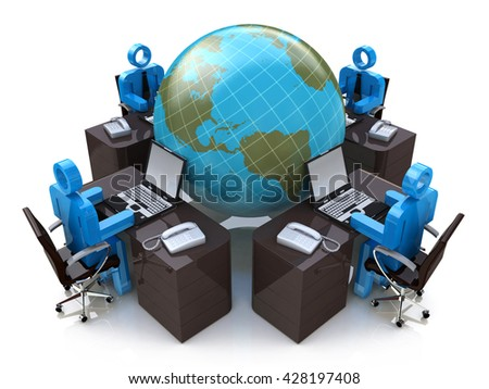 Teamwork concept. Global Communication. Isolated on white background. 3d rendered in the design of information related to internet - stock photo