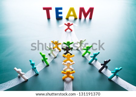 Teamwork concept, group people go to the ame direction - stock photo