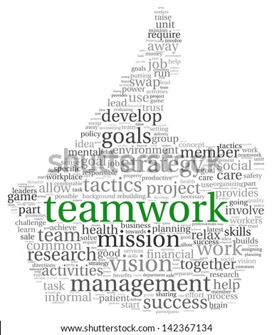 Teamwork concept in word tag cloud of head shape - stock photo