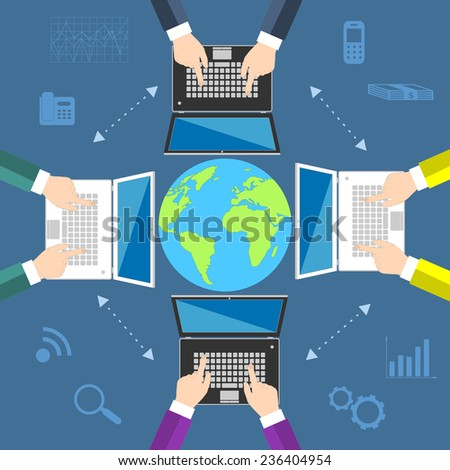 Teamwork. Concept of global business communication. Laptops and businessmen around the globe. Flat illustration  - stock photo