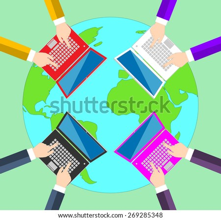 Teamwork. Concept of global business communication. Laptops and people all over the world . Flat illustration  - stock photo