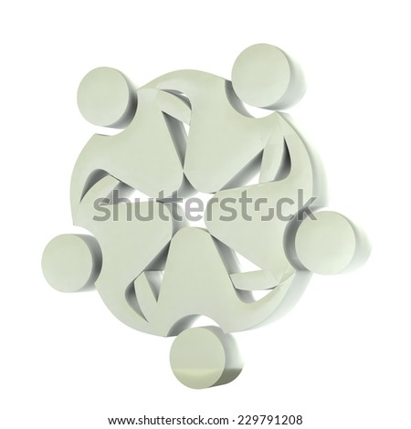 Teamwork concept of union,workers,partners,social networking,hug and friendship icon 3D image logo type template  - stock photo