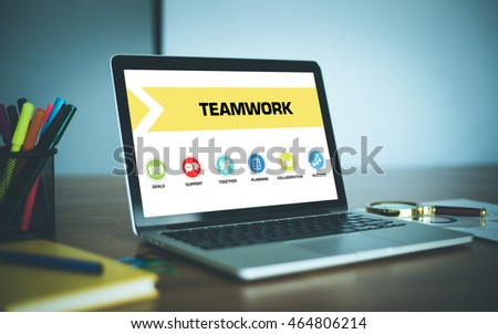 Teamwork Concept on Laptop Screen