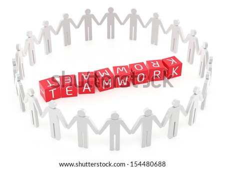 Teamwork concept on the white background - stock photo