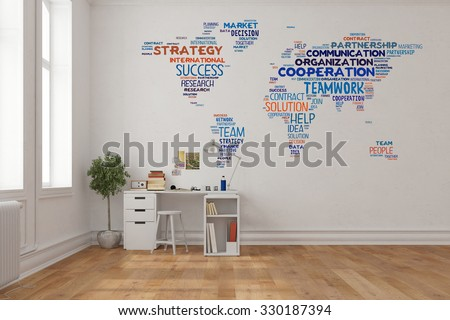 Teamwork concept on world map on a wall in home office over desk (3D Rendering) - stock photo