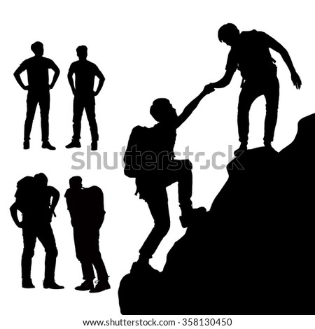 Teamwork concept - Silhouette of Success men mountain climber with white background - stock photo