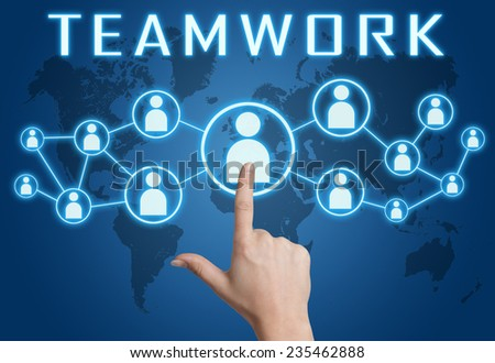 Teamwork concept with hand pressing social icons on blue world map background. - stock photo