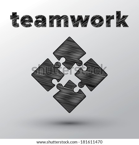 Teamwork concept with sketched puzzle pieces. - stock photo