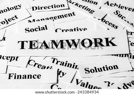 Teamwork concept with some related words paper. - stock photo