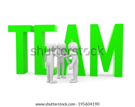 Teamwork. Conceptual business illustration. White background.3d render - stock photo