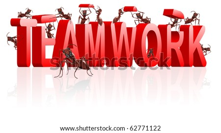 teamwork cooperation and collaboration ants building red text business team work team job - stock photo