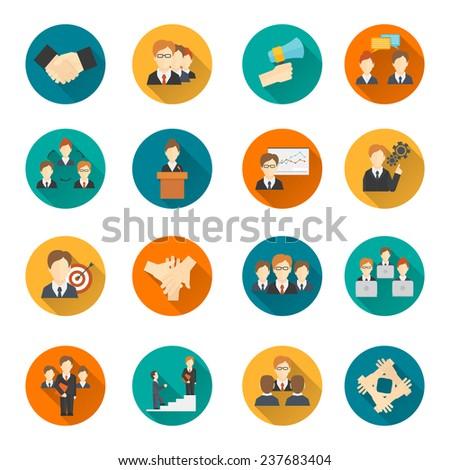 Teamwork corporate organization business strategy flat round button icons set isolated  illustration - stock photo