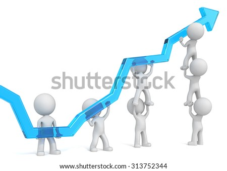Teamwork. 3D characters business people pushing up Abstract Graph of Blue Glass.
