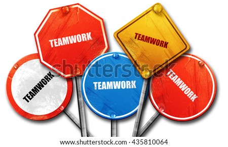 teamwork, 3D rendering, rough street sign collection - stock photo
