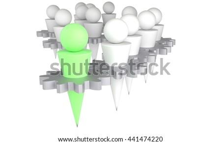 teamwork design, working together 3d illustration - stock photo