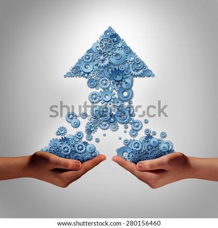 Teamwork for success business concept as two hands holding groups of gears and cogs that have come together to form an upward arrow as a symbol for financial team work to build growth partnership. - stock photo