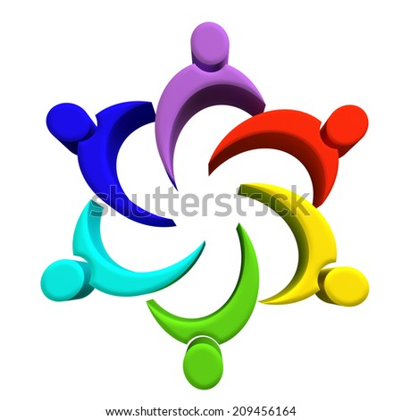 Teamwork friendship working people concept symbol image design - stock photo