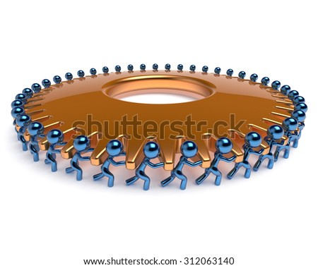 Teamwork gearwheel partnership characters team work employment business process men turning gear wheel golden cogwheel together. Cooperation assistance efficiency community concept 3d render isolated - stock photo