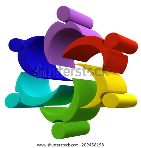 Teamwork group of working people concept symbol vector design - stock photo