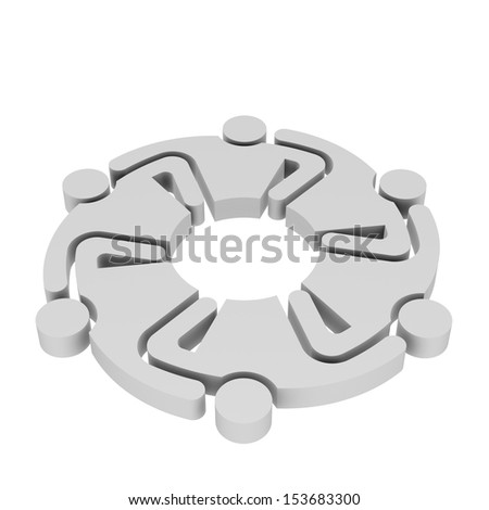 Teamwork Hugging , group of 6 persons , 3D illustration in white background - stock photo