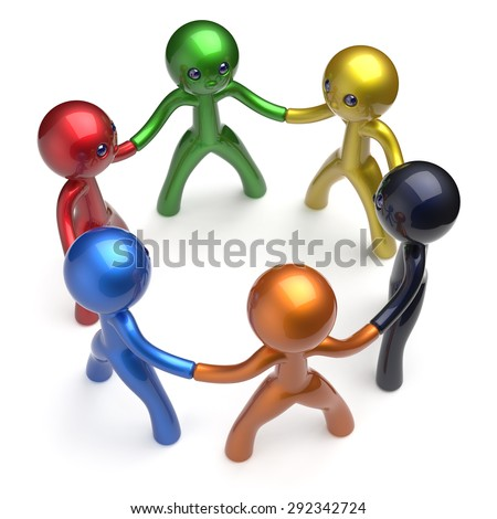 Teamwork human resources social network characters circle people individuality friendship team six different cartoon friends unity meeting icon concept colorful. 3d render isolated - stock photo