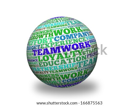 Teamwork, in a word cloud designed in a 3D sphere with shadow