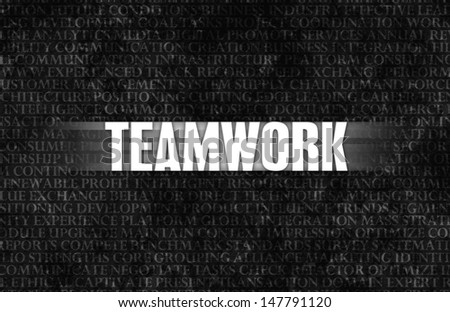 Teamwork in Business as Motivation in Stone Wall - stock photo