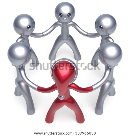 Teamwork leadership circle New Year's Eve Santa hat man character leader stylized Christmas people social network party team six cartoon guys unity meeting individuality concept red white. 3d render - stock photo