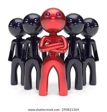 Teamwork leadership stylized red character black men crowd businessman team leader individuality five cartoon persons icon social relationship friends concept 3d render isolated - stock photo