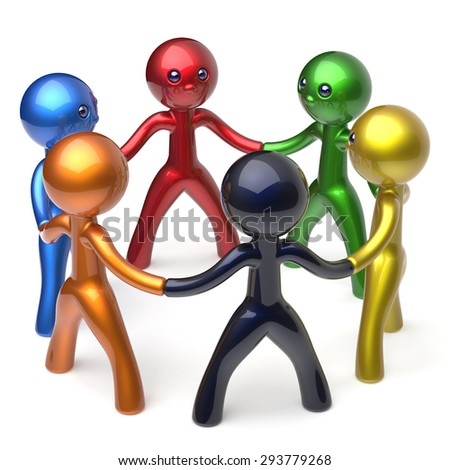 Teamwork men circle people social network individuality characters human resources friendship team six different cartoon friends unity meeting brainstorm icon concept colorful 3d render isolated - stock photo