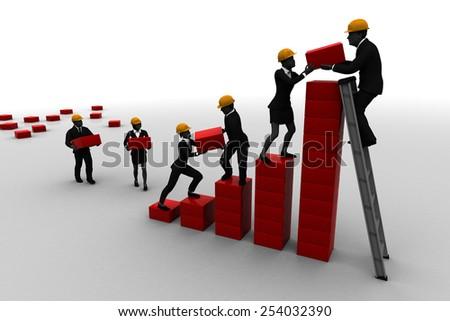 Teamwork on a Bar Chart. A team collaborating on a bar chart indicating progress. - stock photo