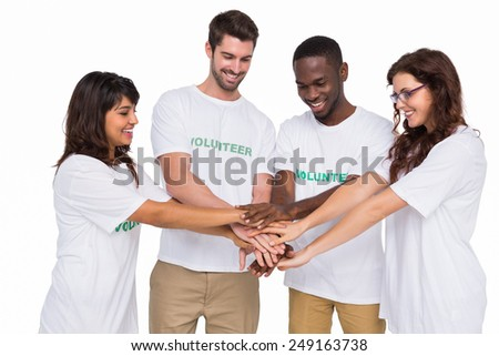 Teamwork participating at charity together on white background - stock photo