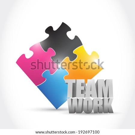 teamwork puzzle pieces concept illustration design over a white background