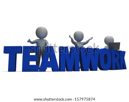 Teamwork Showing 3d Characters Working Together As Team
