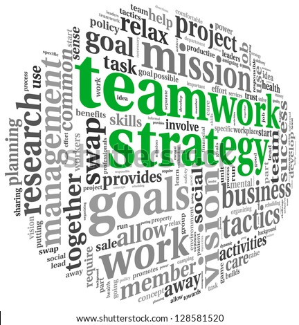 Teamwork strategy and management concept in word tag cloud