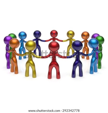Teamwork stylized men together circle chain social network human resources people characters large group friendship individuality team different cartoon friends unity join concept. 3d render isolated - stock photo