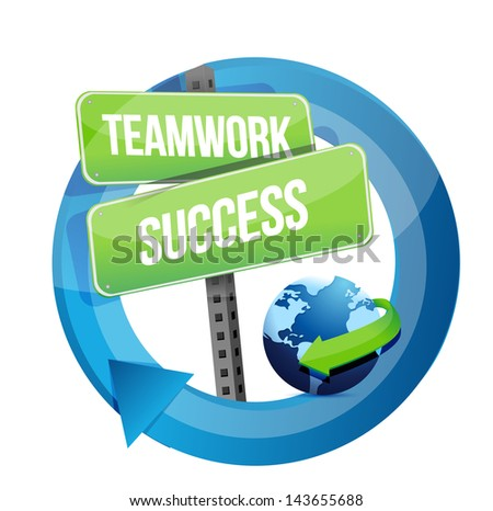 teamwork success street sign illustration design over white
