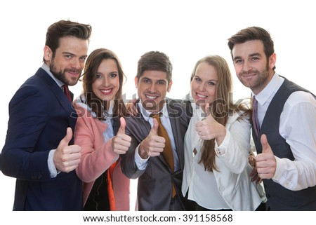 teamwork, successful  business team with thumbs up - stock photo