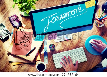 Teamwork Team Collaboration Support Member Unity Concept - stock photo