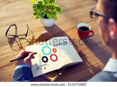 Teamwork Team Group Gear Partnership Cooperation Concept - stock photo